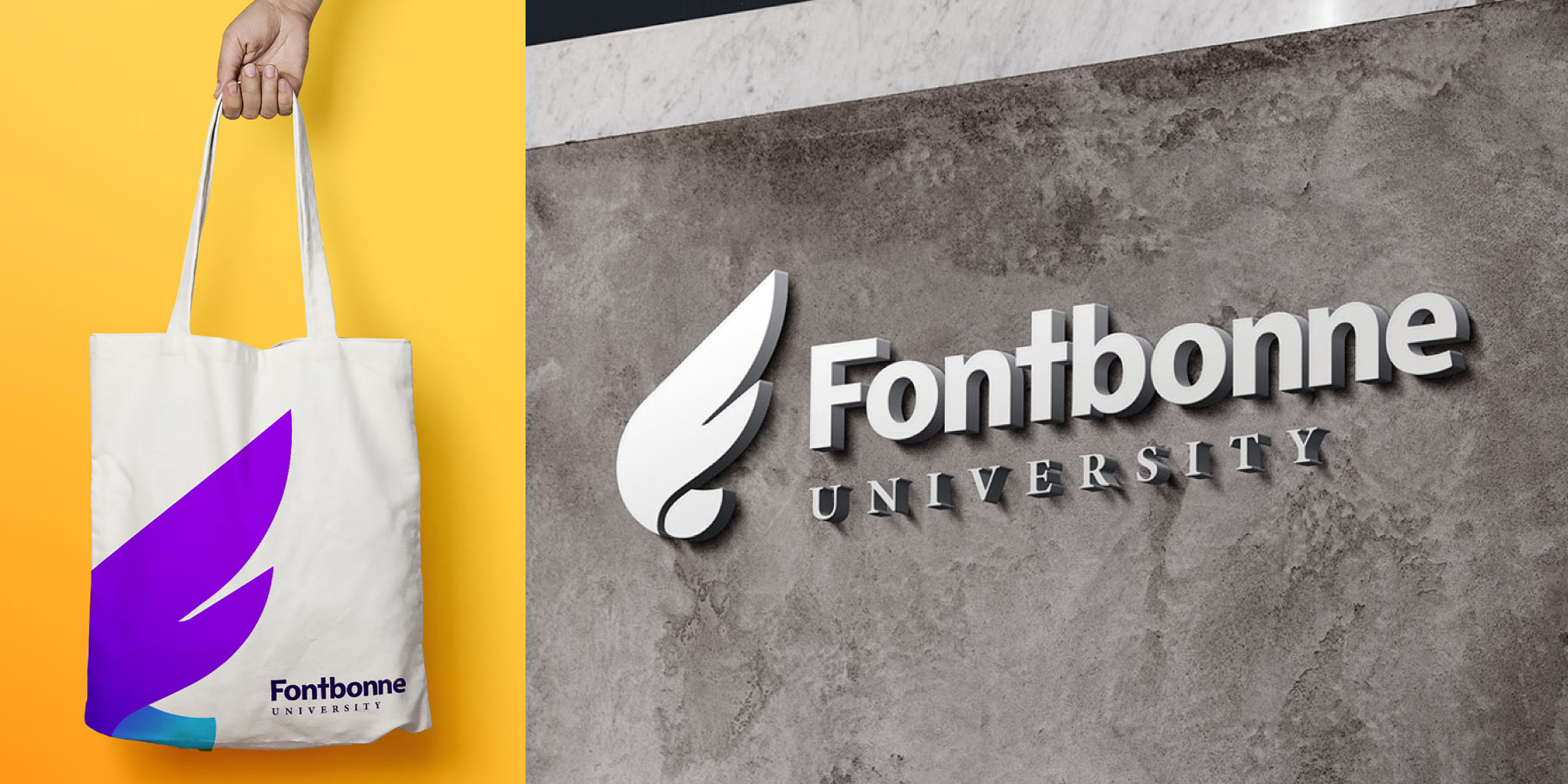 Fontbonne University logo on a canvas bag and a stone wall