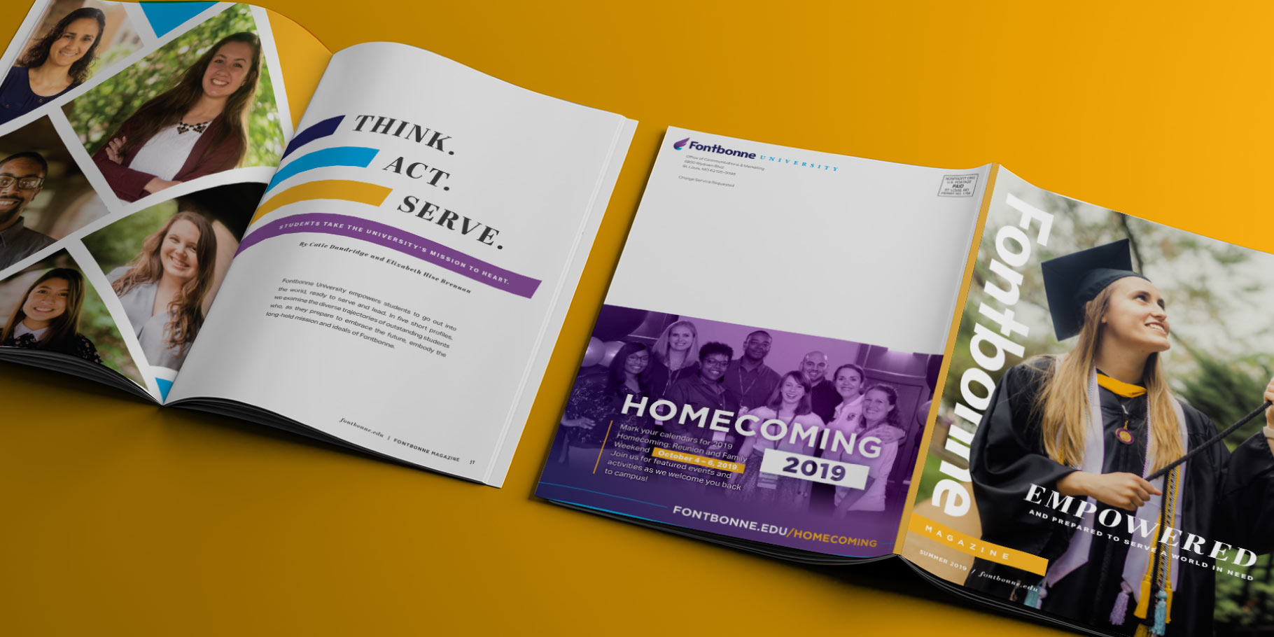 Fontbonne University magazine design cover and interior