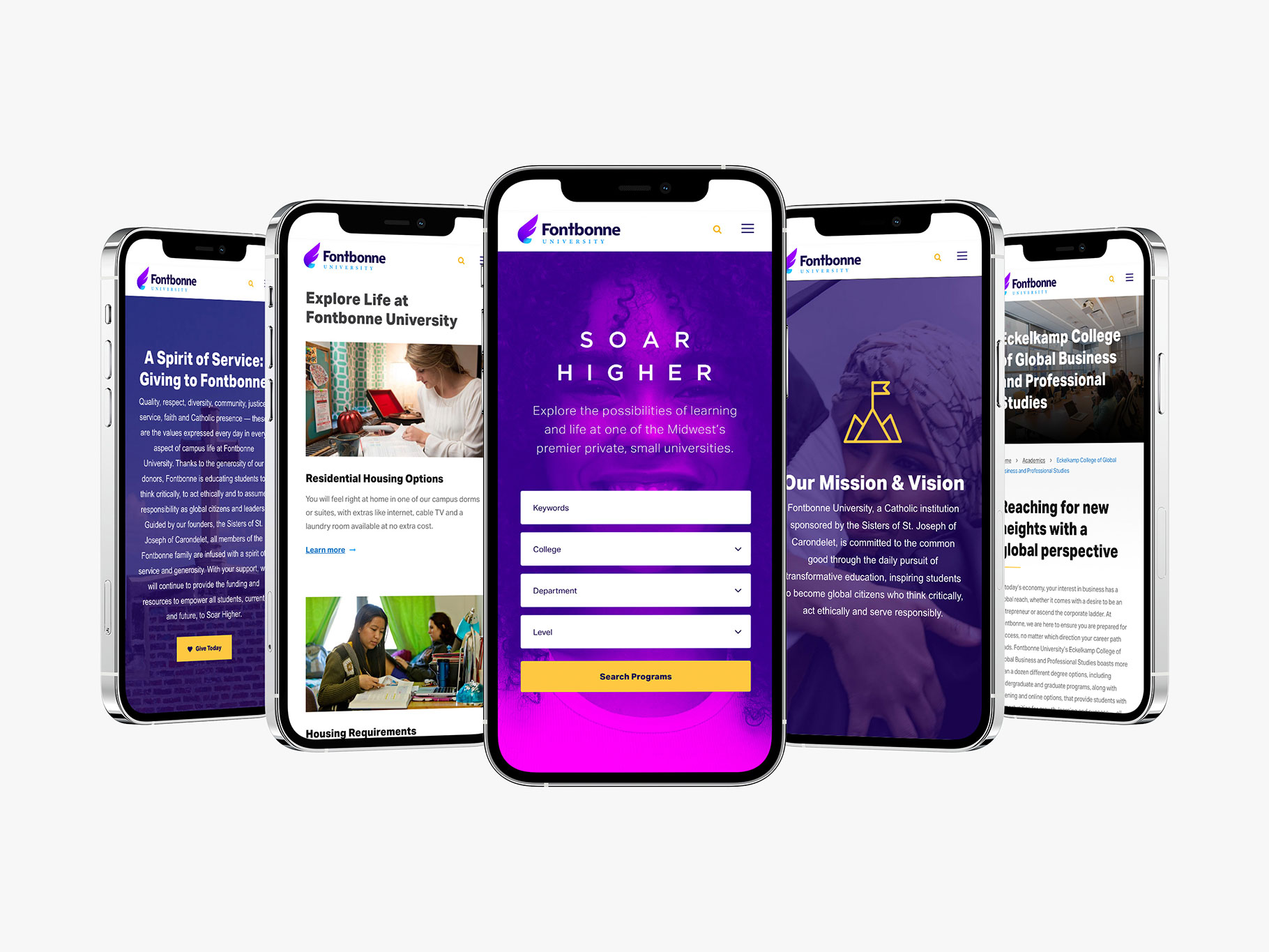 Fontbonne University website page designs on six smartphones