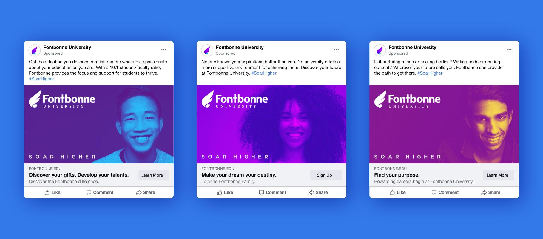 three Fontbonne University social media advertising units