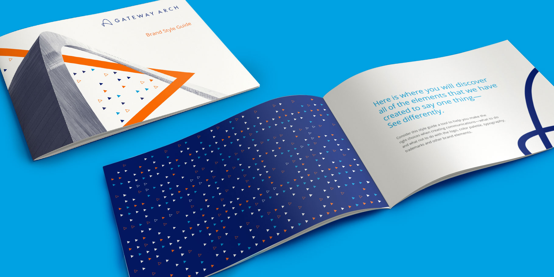 Gateway Arch brand style guide cover and interior sitting on blue