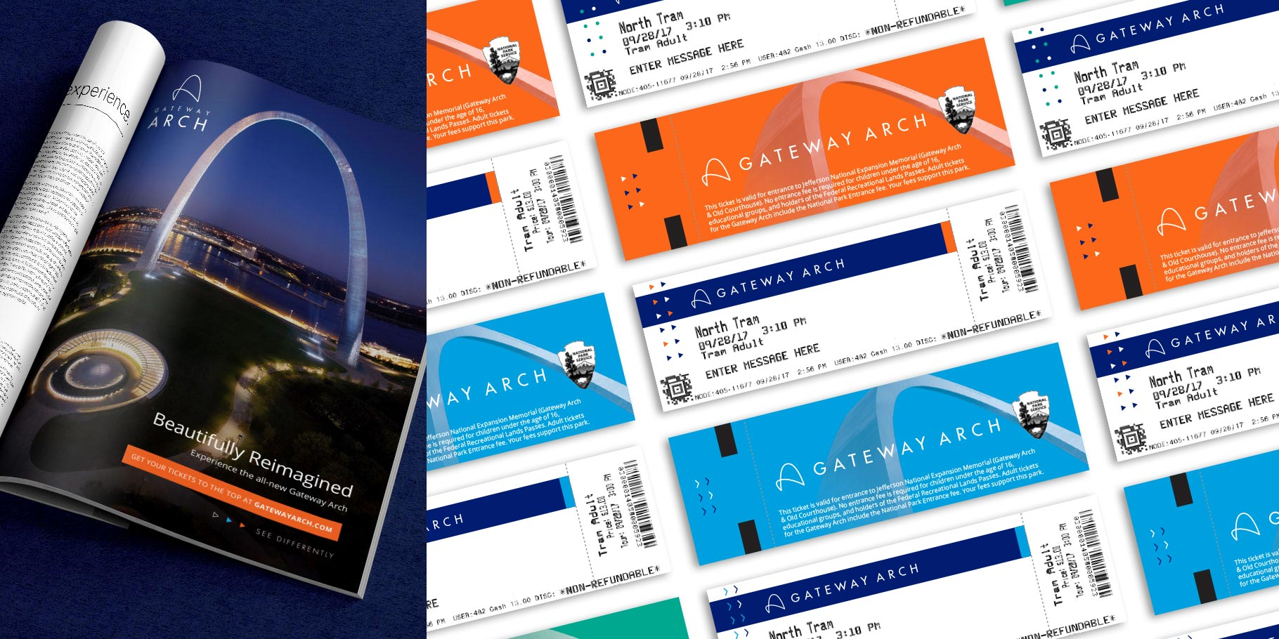 Gateway Arch print ad and tram ticket designs