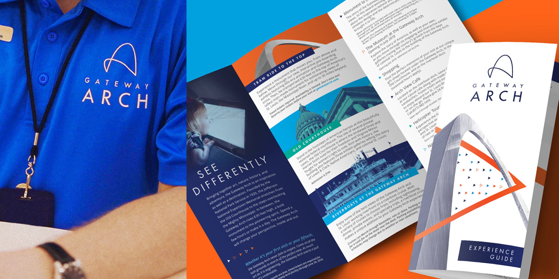 Gateway Arch logo on a polo shirt and a mockup of a Gateway Arch brochure design on a table