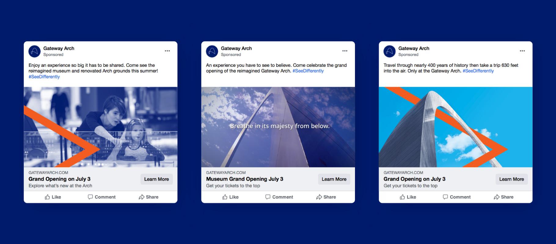 three Gateway Arch social media Facebook advertising units