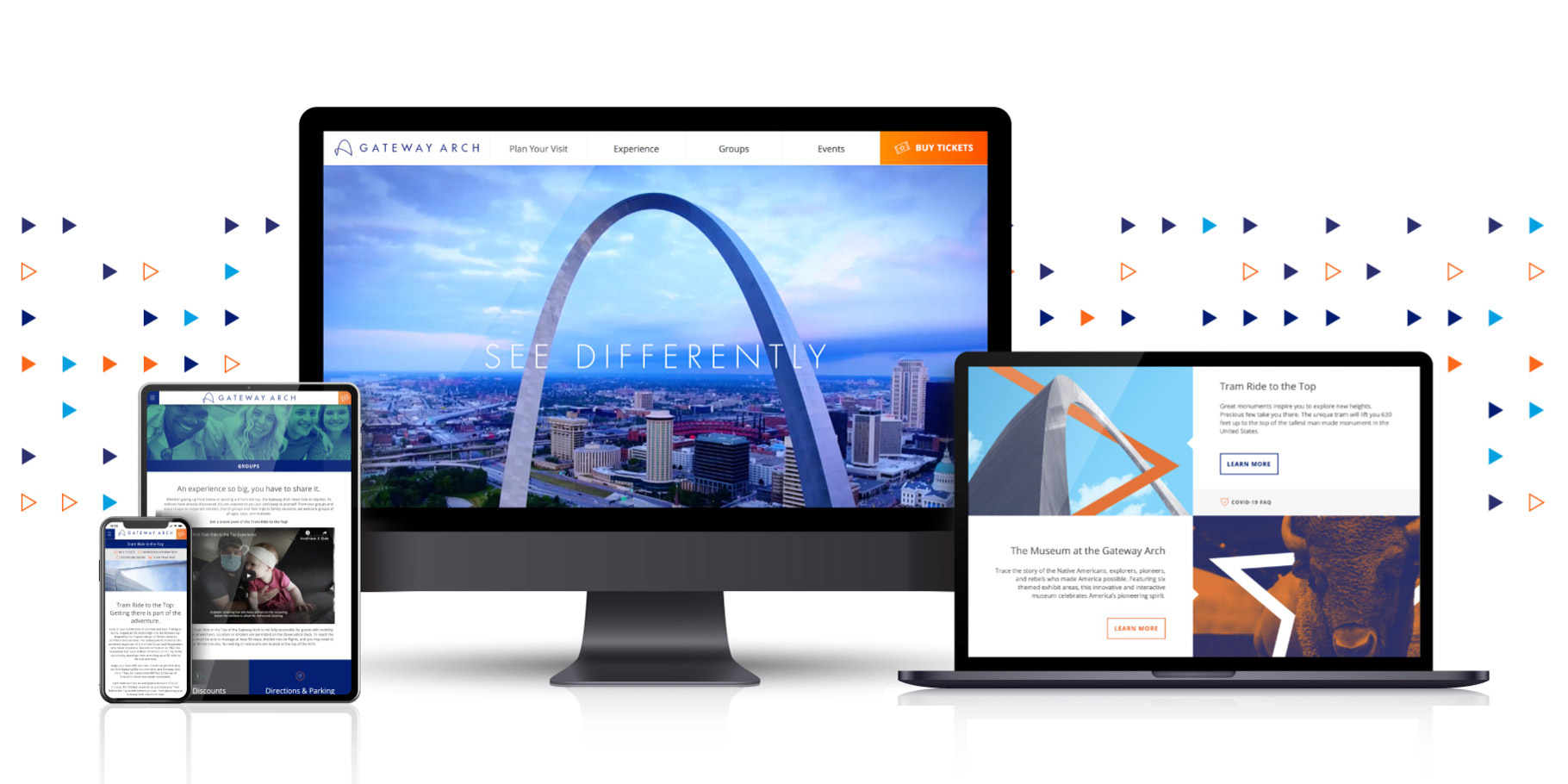 Gateway Arch website page designs on various devices