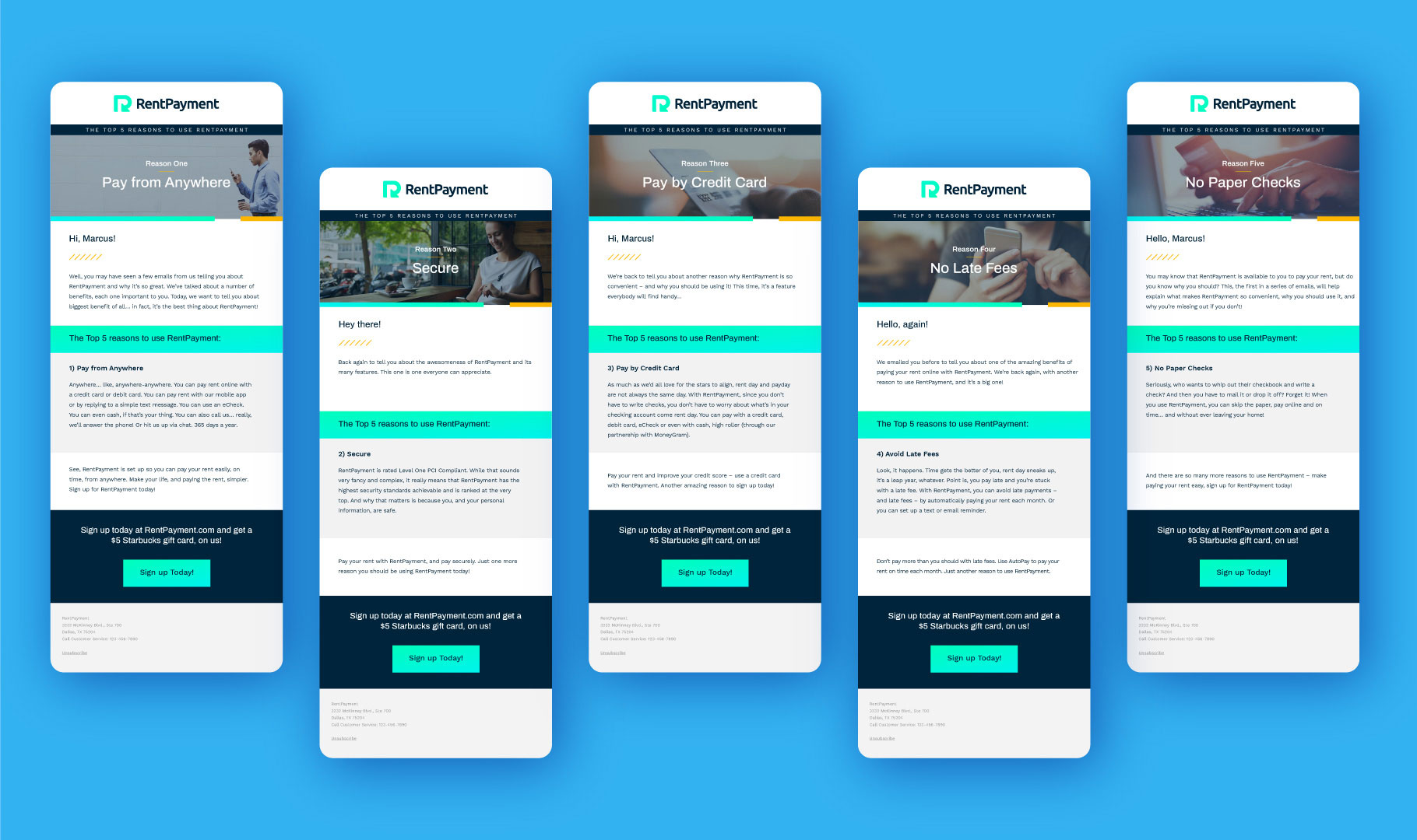 five RentPayment email campaign design mockups