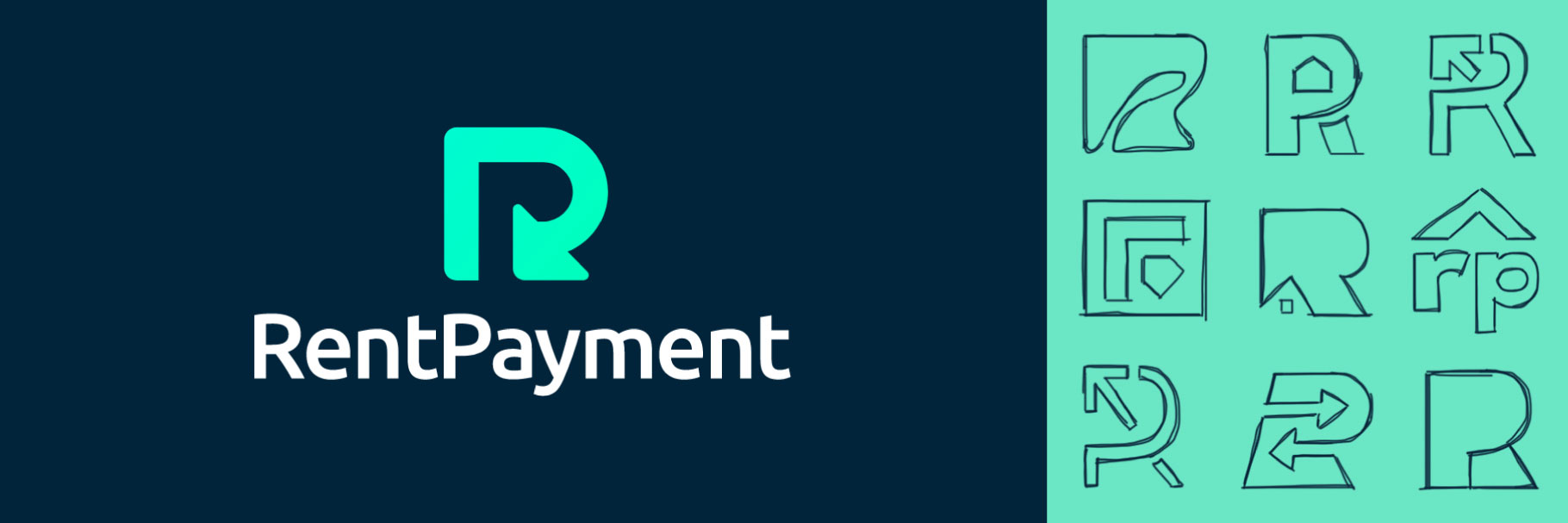 RentPayment official logo and in-process logo sketches