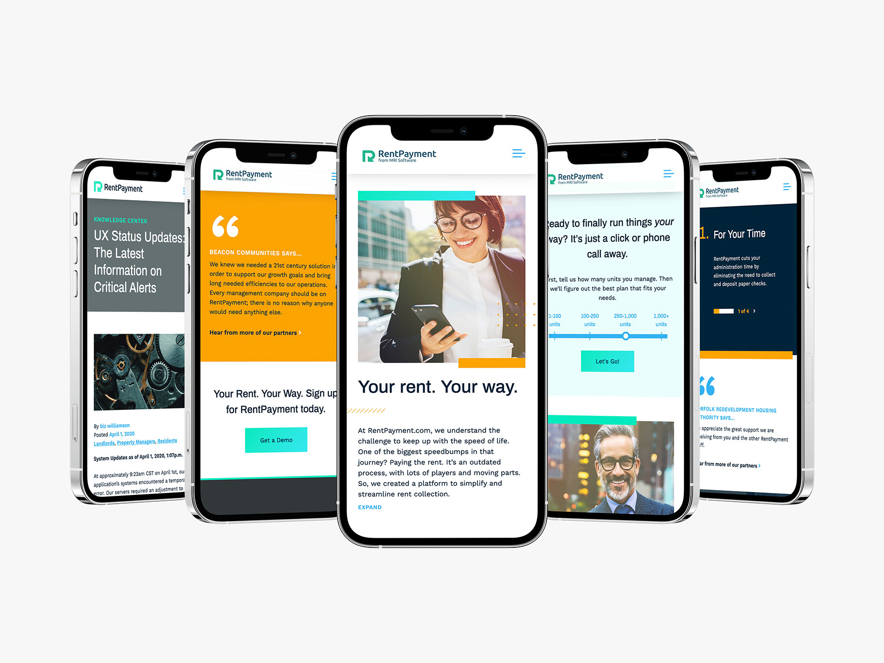 RentPayment website design on five smartphone devices