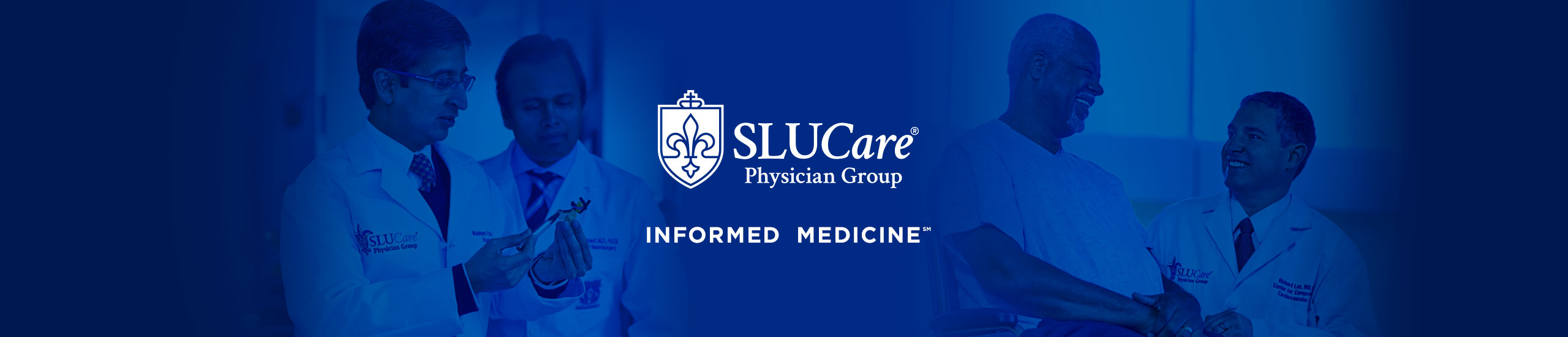 SLUCare Physician Group logo with doctors and patients talking