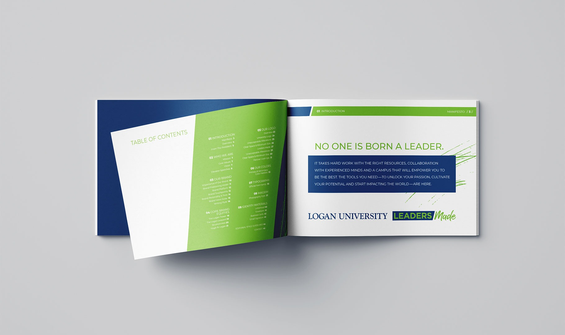 Logan University Brand Guidelines booklet opened up.