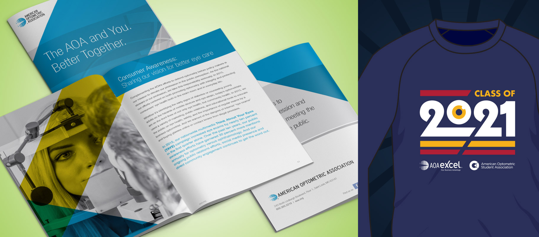 American Optometric Association member guide and AOAExcel t-shirt design
