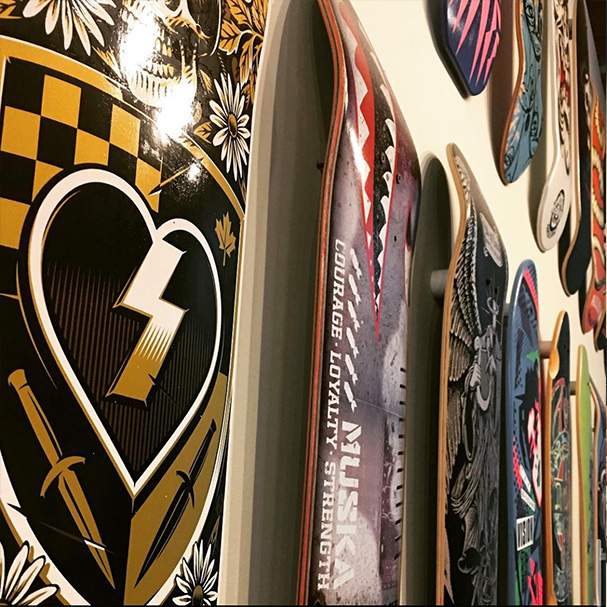 graphic skateboards in the Dovetail office
