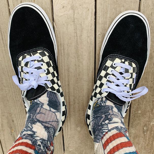 Scott Leisler's Vans shoes and graphic socks