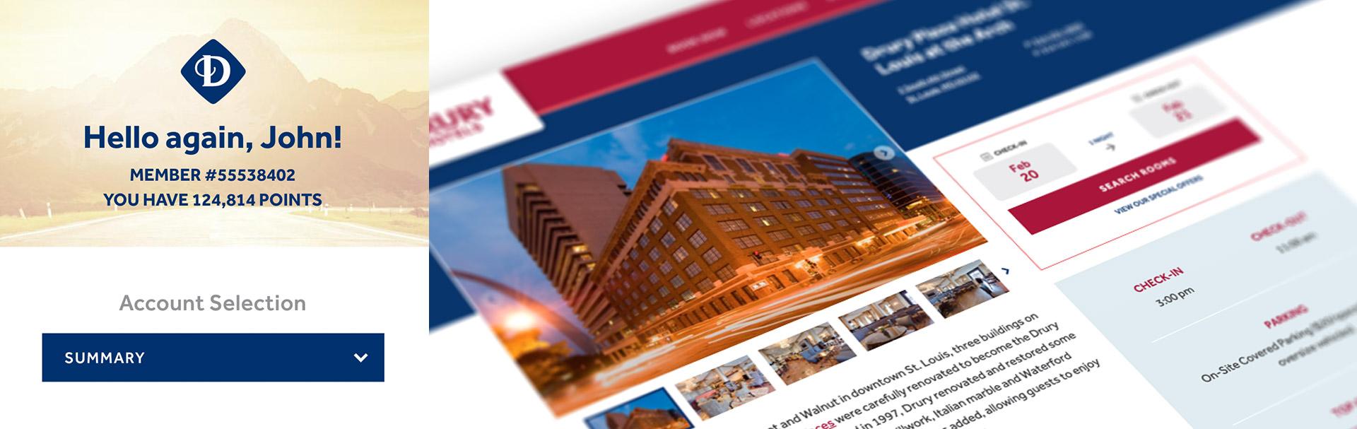 various Drury Hotels website designs