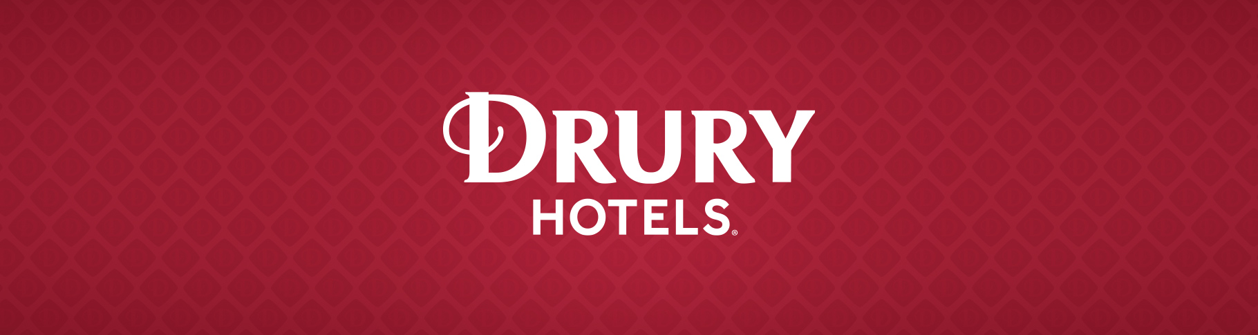 Drury Hotels logo on a red patterned background