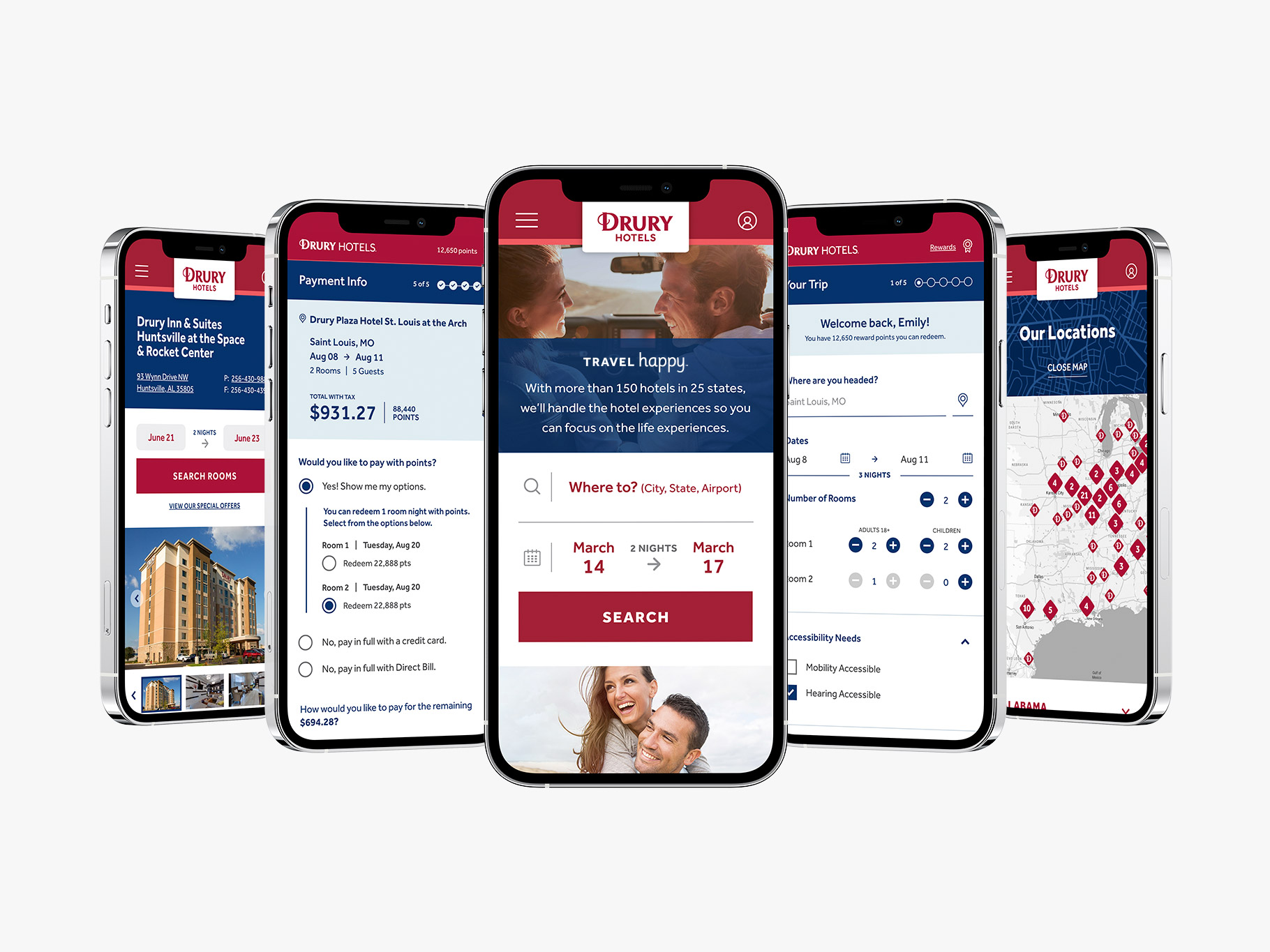Drury Hotels website page designs on five smartphones