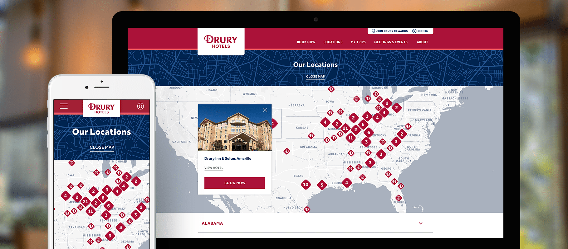Drury Hotels website page designs on a smartphone and a desktop computer