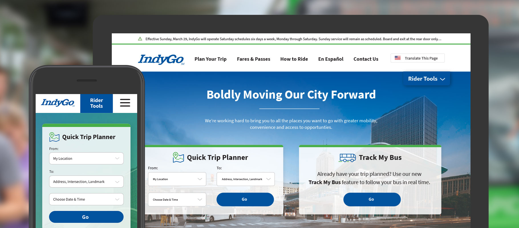 IndyGo website design on a smartphone and desktop computer