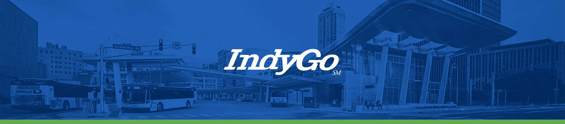 IndyGo logo with a bus stop in the background