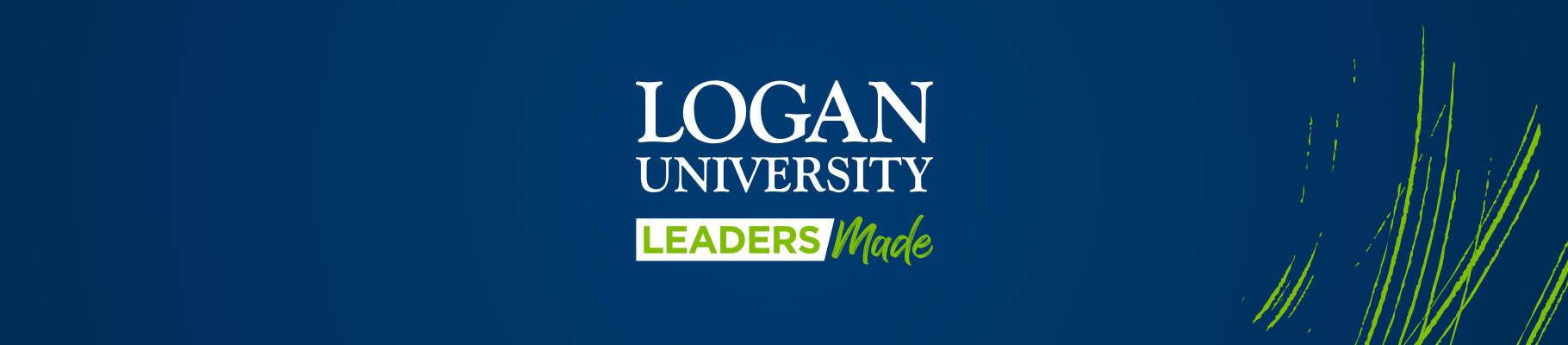 Logan University logo on blue wide