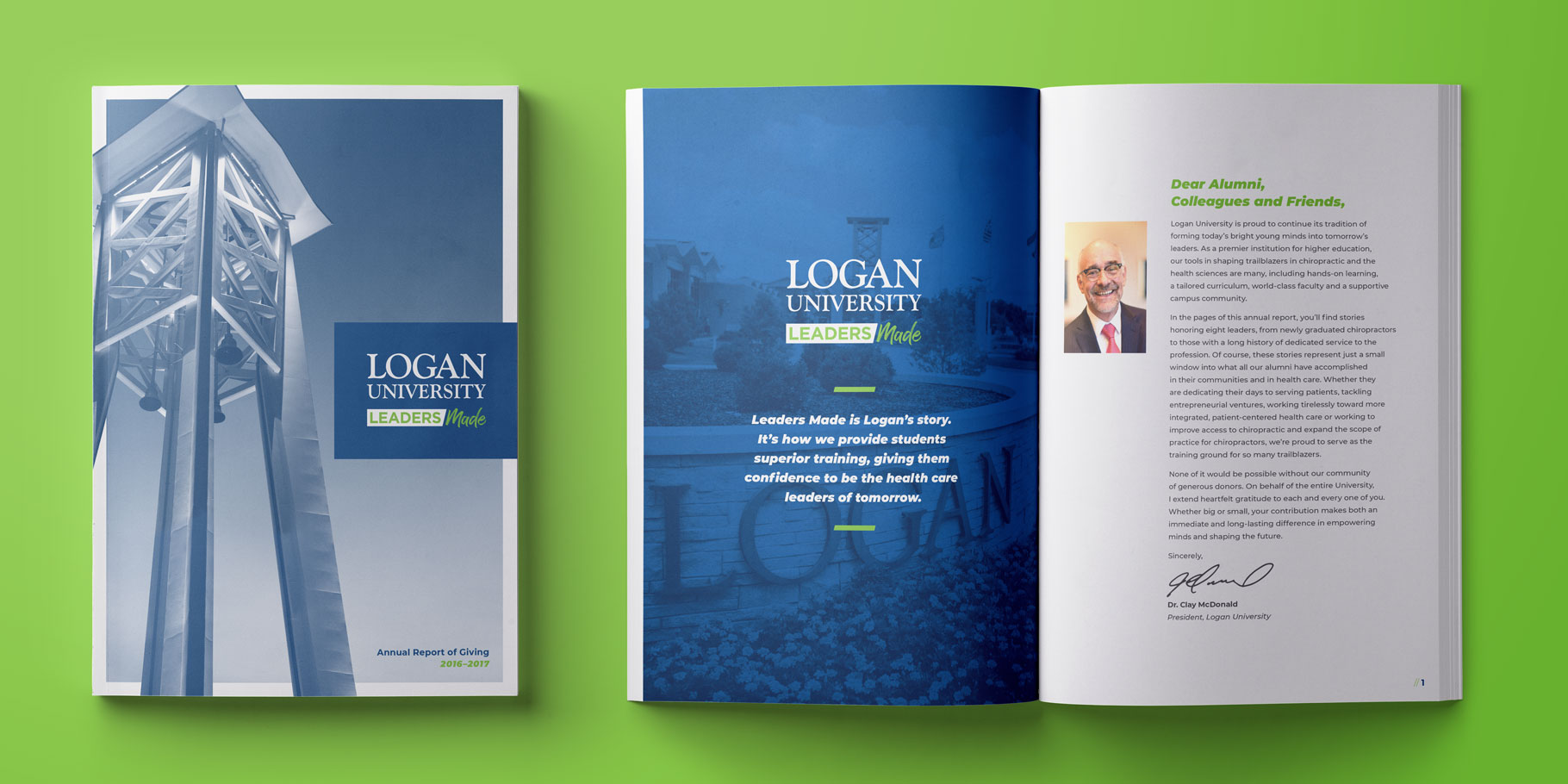 Logan University Annual Report design opened on a table