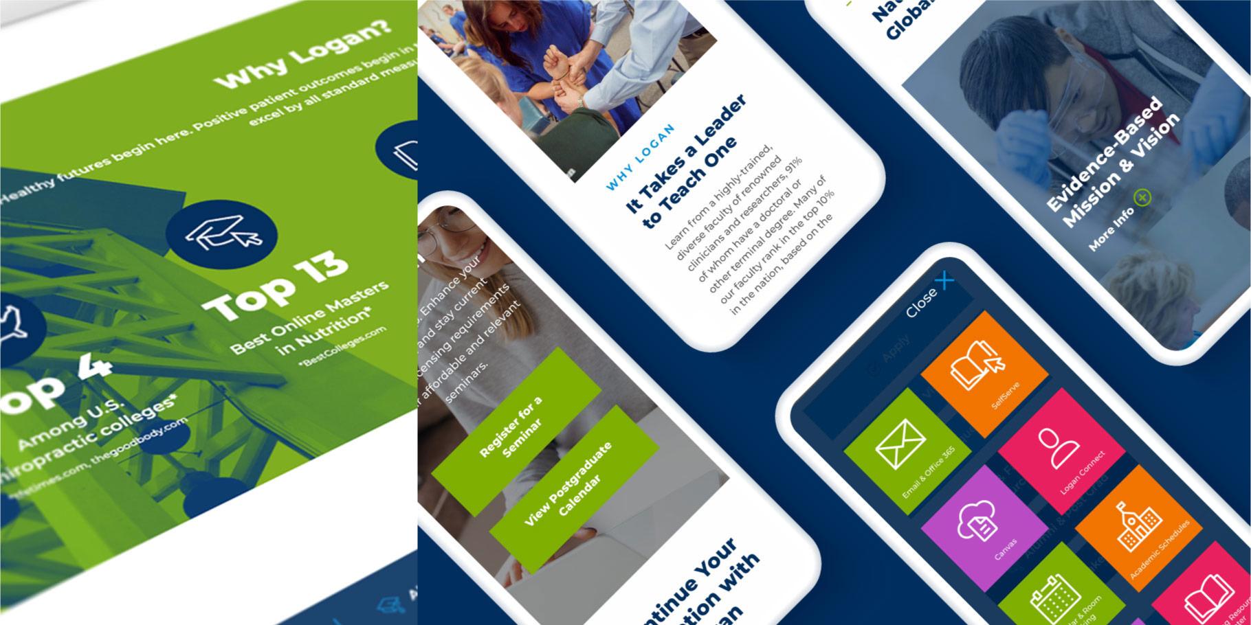 Logan University website design shown on smartphones