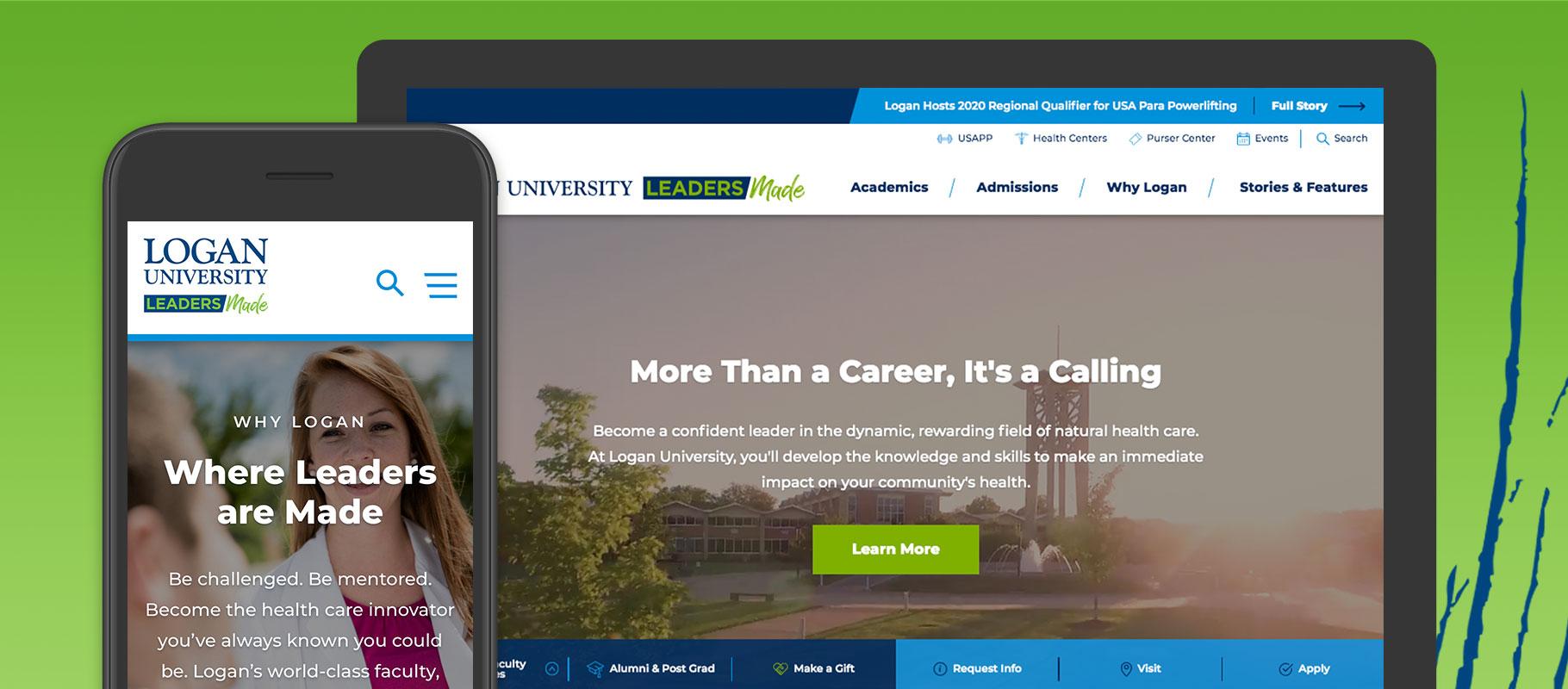 Logan University website design on a smartphone and a desktop computer