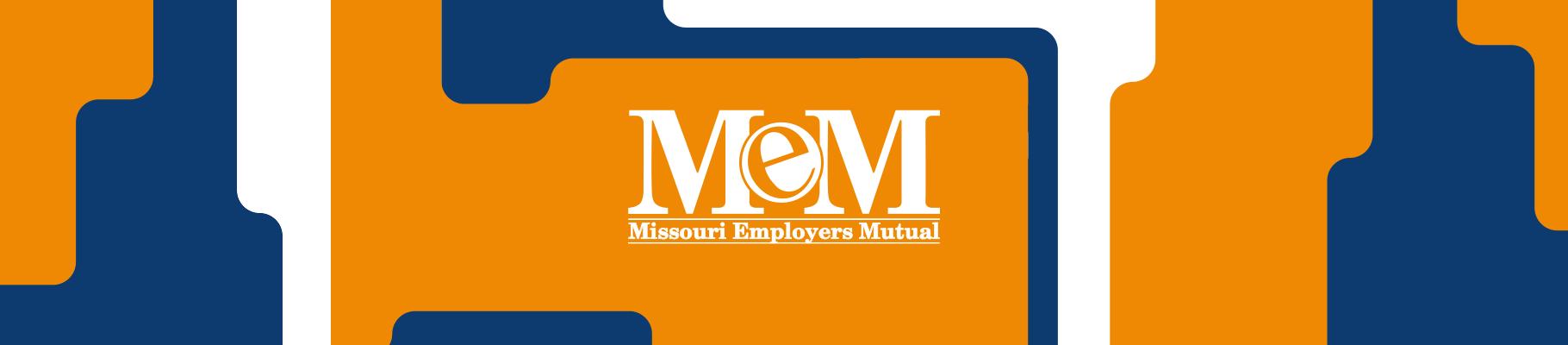 Missouri Employers Mutual logo on orange, blue and white graphics banner