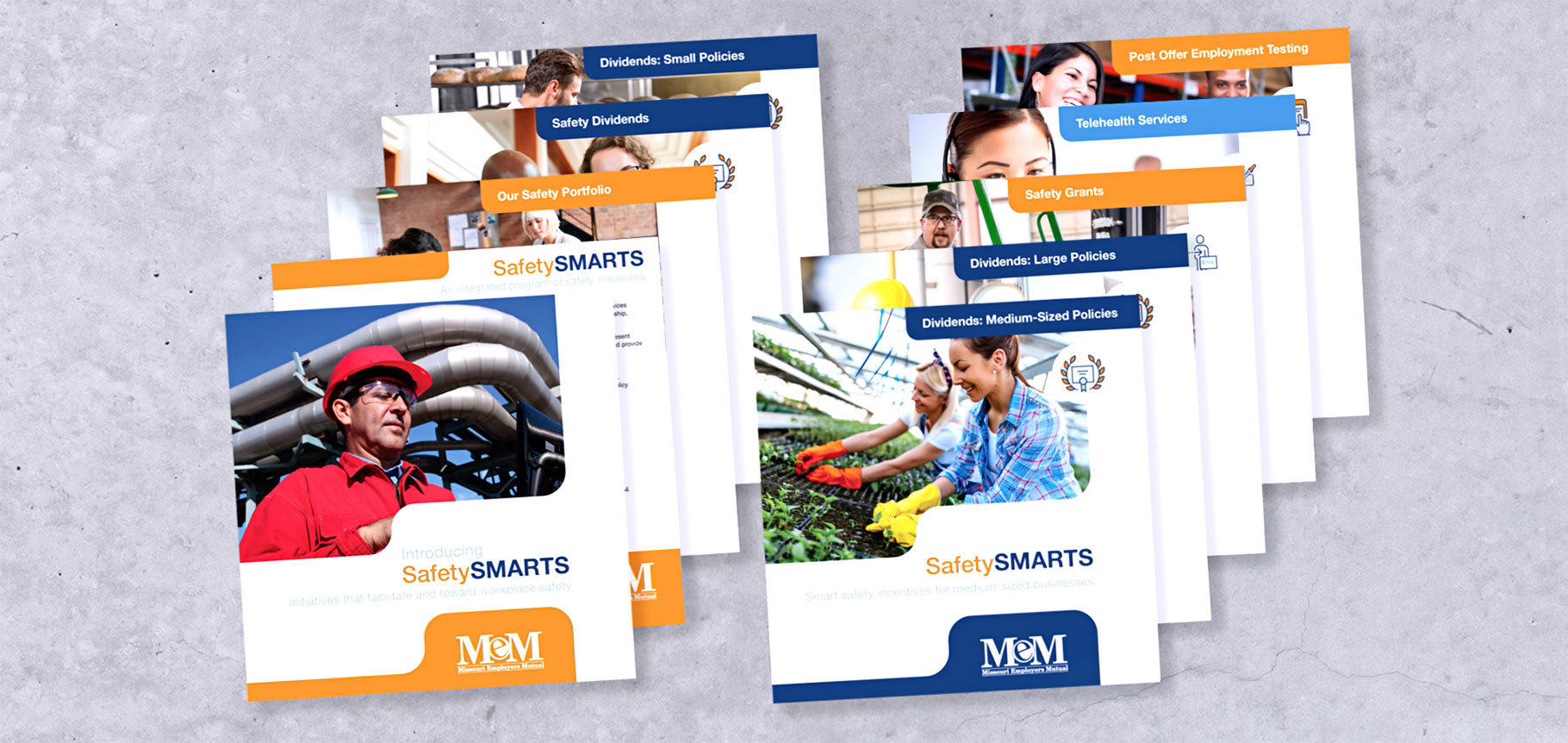 lineup of all Missouri Employers Mutual SafetySMARTS brochure designs