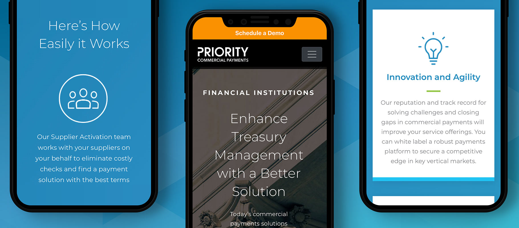 Priority Commercial Payments CPX mobile website design