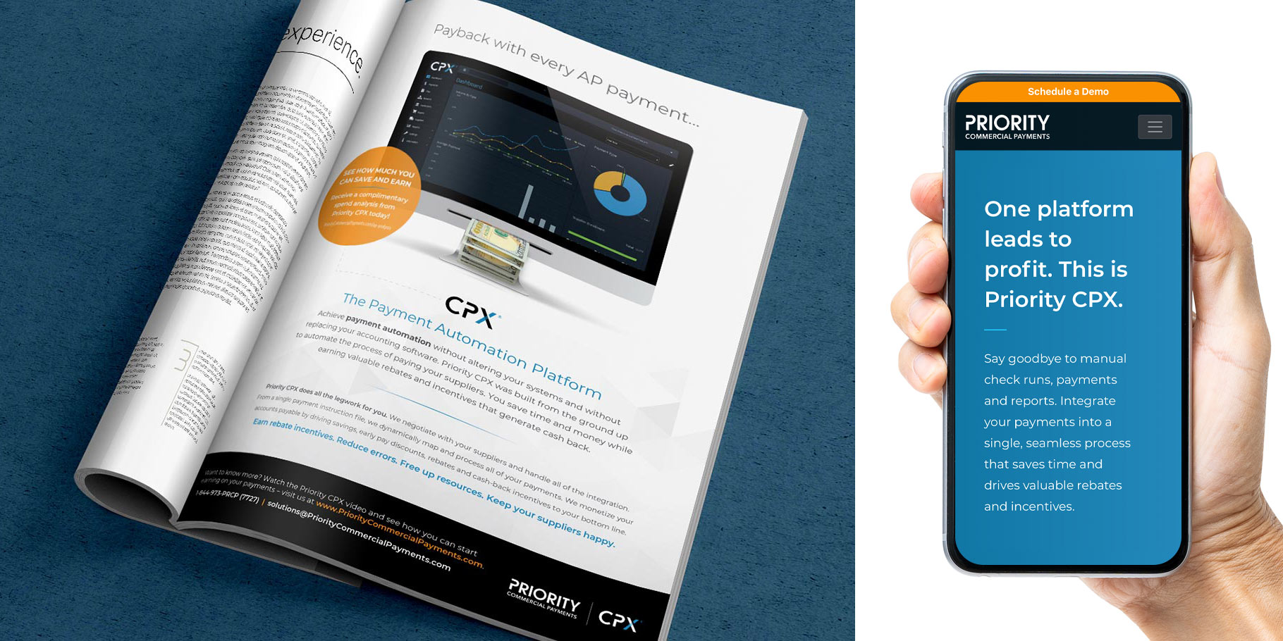 Priority Commercial Payments CPX print ad and mobile website