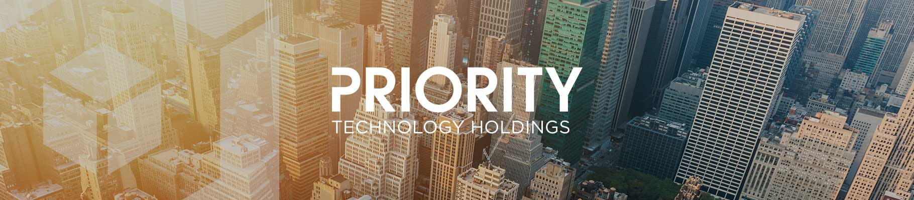 Priority Technology Holdings graphic banner with a background cityscape