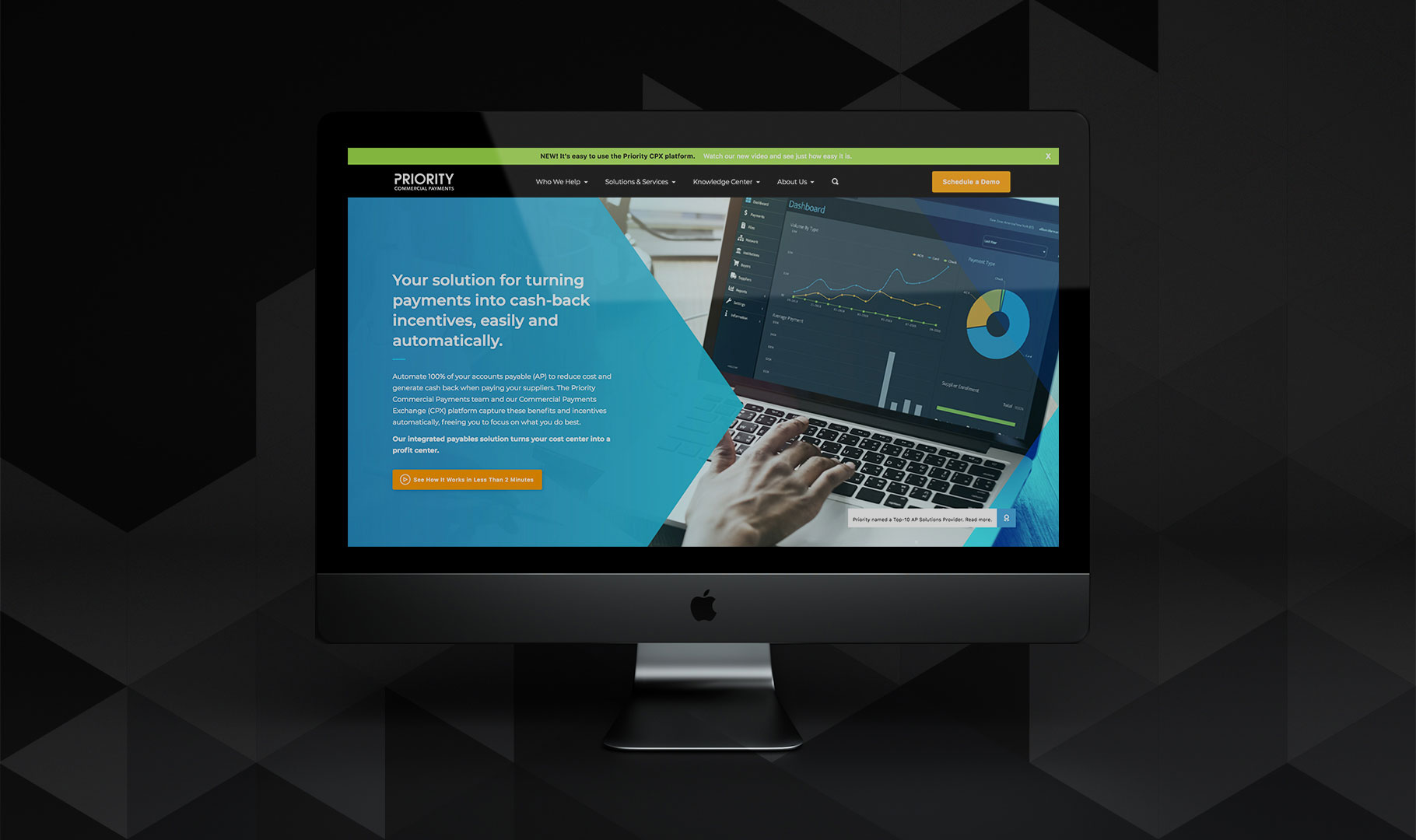 Priority Commercial Payments CPX website on a desktop computer and dark background