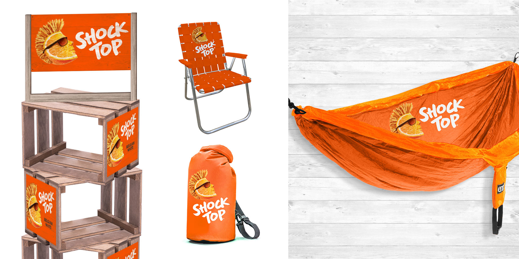 various Shock Top logo extensions on crates, a chair, sleeping bag and hammock