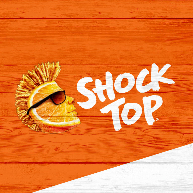 graphic of Shock Top brand with wedge logo square