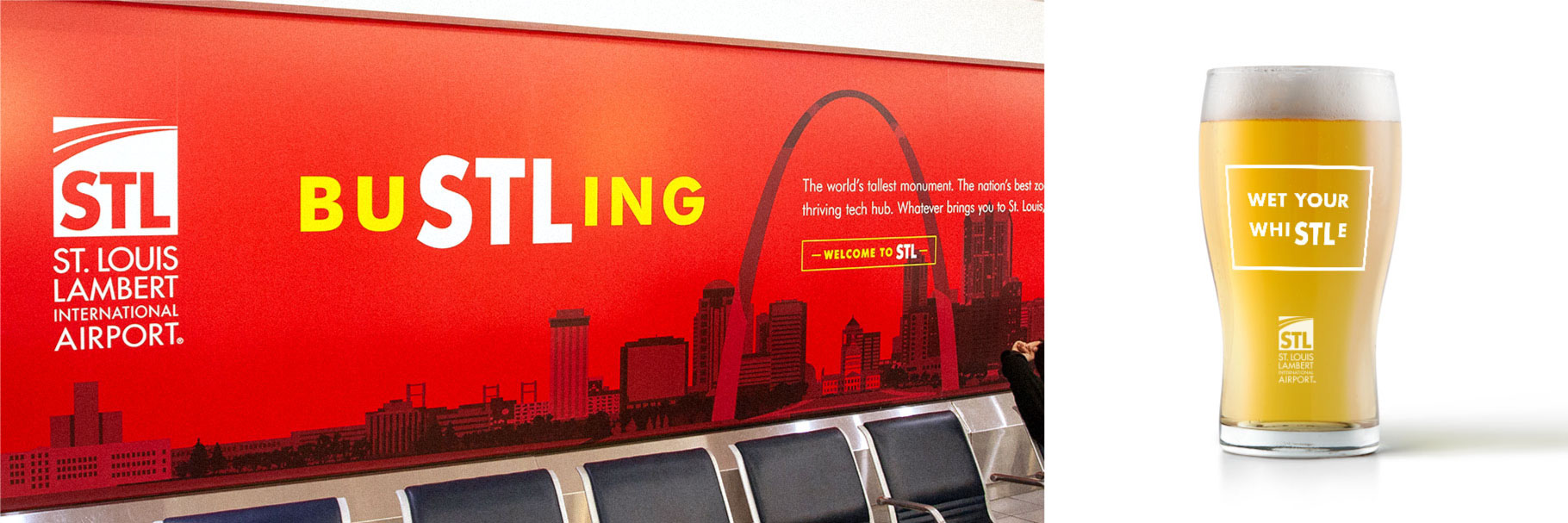 St. Louis Lambert International Airport red BuSTLing window graphics near baggage claim