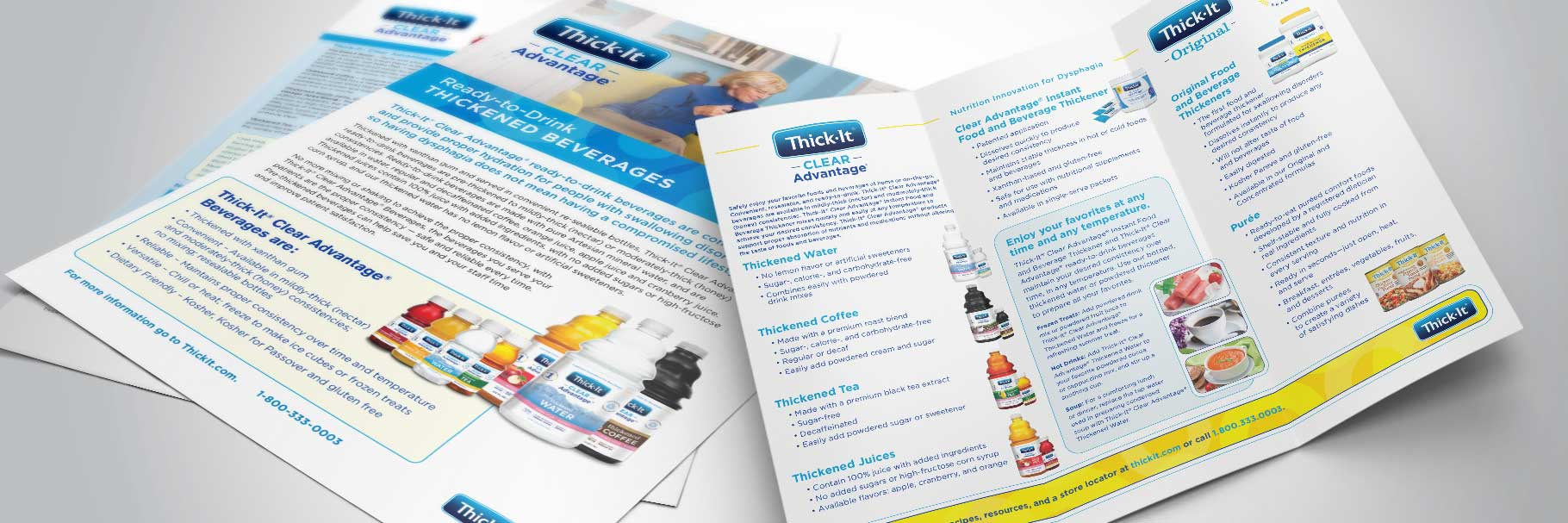 Thick-It brochure designs sitting on a table