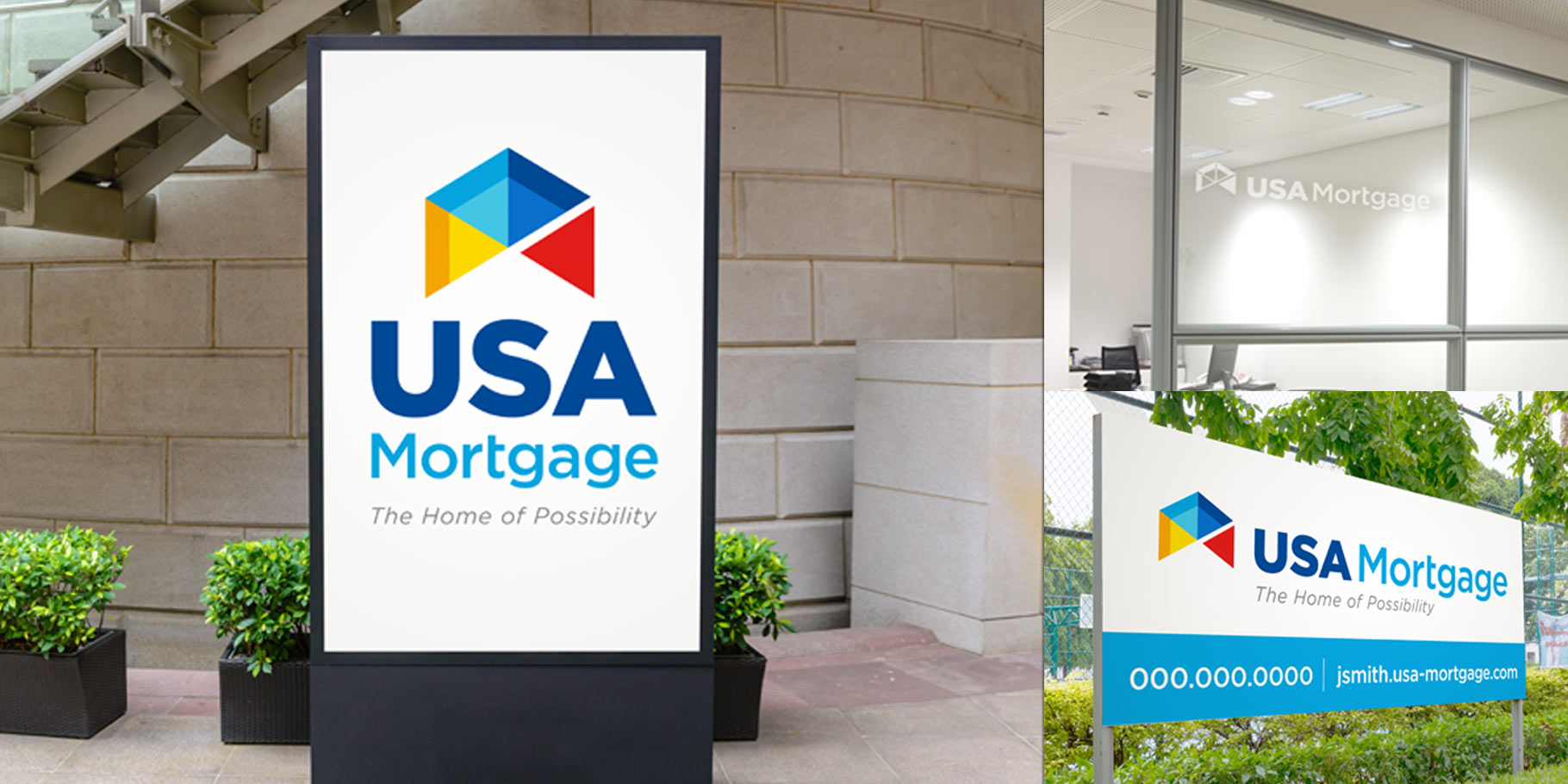 various applications of USA Mortgage logos